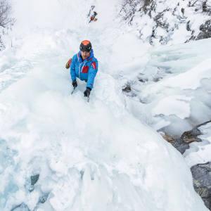 Ice climbing La Cigarette Bleu in Gaspesie, Quebec