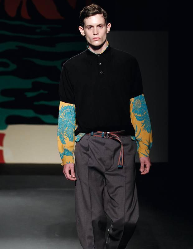 Prada cotton polo shirt, £380, silk shirt, £535, and mohair trousers, £570