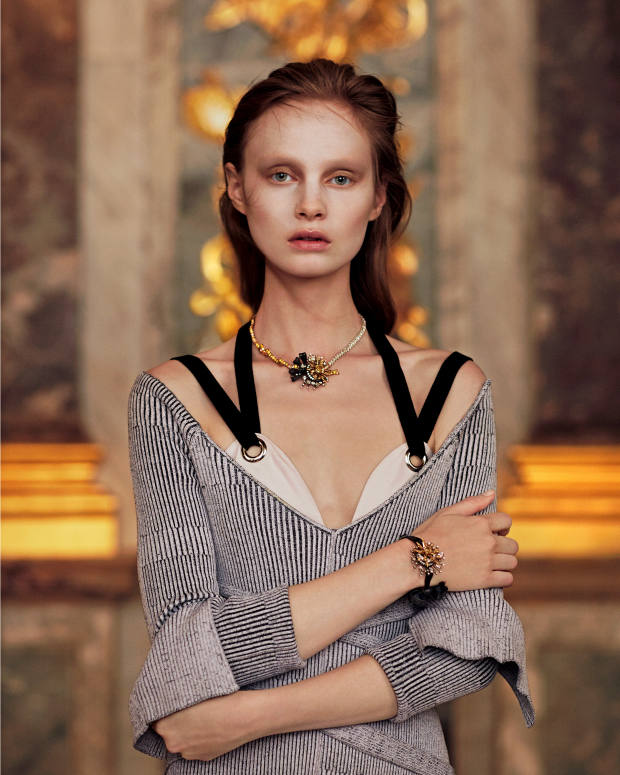Proenza Schouler cotton knit dress with cotton underdress, £1,980. Dior Fine Jewellery Salon d'Apollon white, rose and yellow gold, darkened silver, white and yellow diamond necklace, and matching bracelet, both price on request