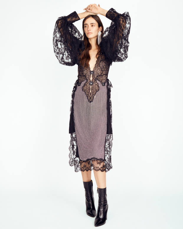 Christopher Kane crystal-embellished lace dress, £2,195.Valentino Garavani leather boots, £840. Alessandra Rich rhodium-plate and crystal earrings, £345, from matchesfashion.com