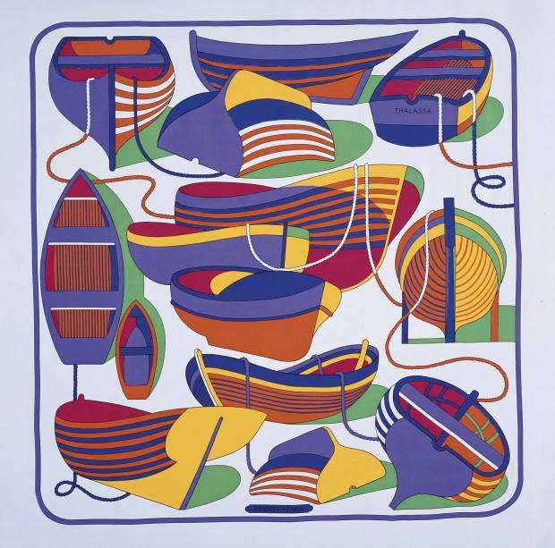 Among the 2,000-plus scarves in the Hermès collection is Thalassa designed by Pierre Peron.