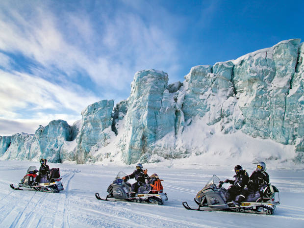 Pelorus takes clients to Svalbard for snowmobile polar-bear safaris accompanied by armed guards