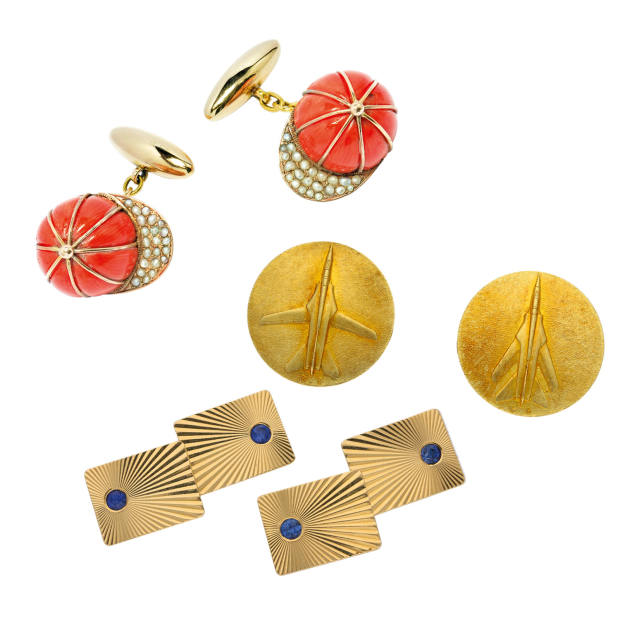 From top: c1920 gold, coral and pearl jockey-cap cufflinks, £4,995 from Michael Rose. c1968 Cartier gold Mirage G8 fighter-jet cufflinks, £4,500, and c1950 Tiffany & Co gold and sapphire sunburst cufflinks, £3,000, both from Berganza