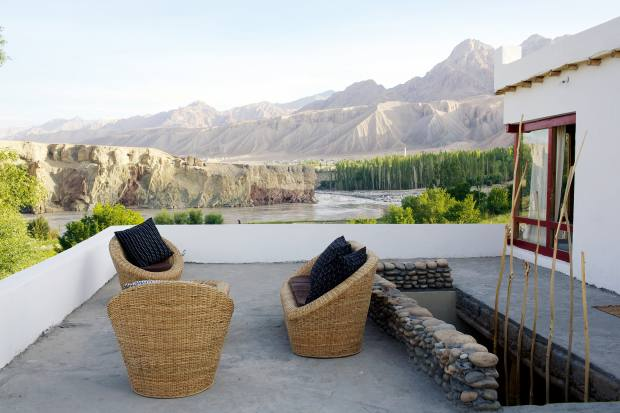 One of Shakti Himalaya's private village houses, overlooking the Indus River in Ladakh, India