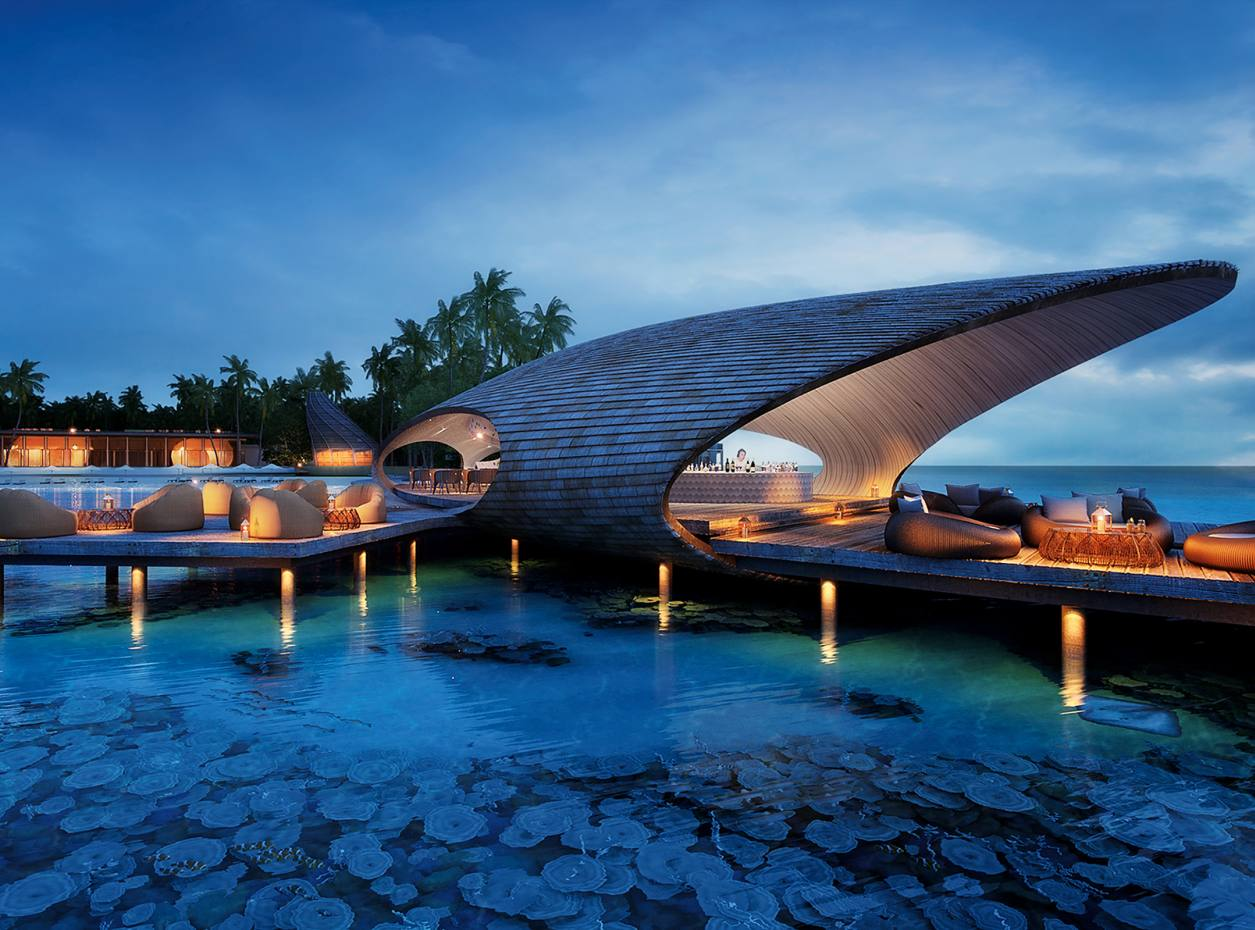 The Sunset bar at St Regis Vommuli in the Maldives