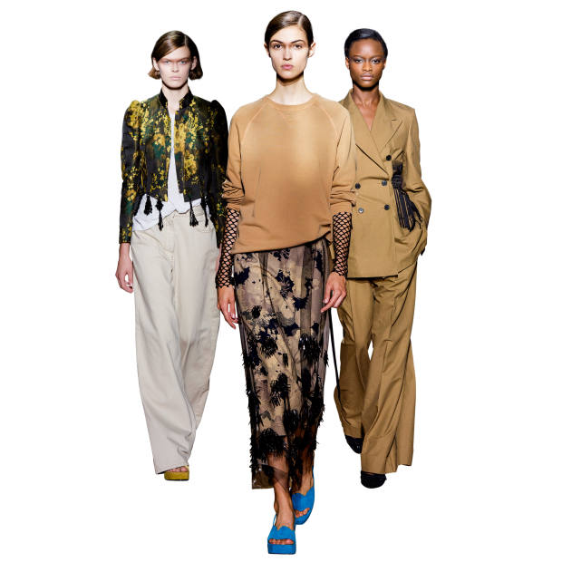 From left: Dries Van Noten cotton/viscose jacket, £1,855, cotton T-shirt, £117, cotton jeans, £345, and silk sandals, £1,004; cotton jumper, £208, polyester fishnet top, £140, embellished viscose dress, £1,680, andsuede sandals, £740; embellished cotton/linen jacket, £2,035, and matching trousers, £630