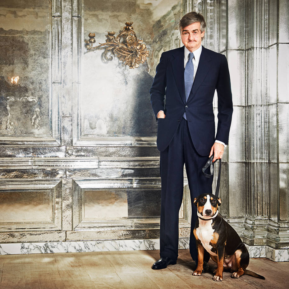 Oswald's founder Robin Birley and his dog in the mirrored interior of the new Mayfair club