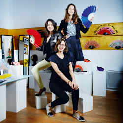 From top: Eloïse Gilles, Raphaelle de Panafieu and Coralie Marabelle at Duvelleroy