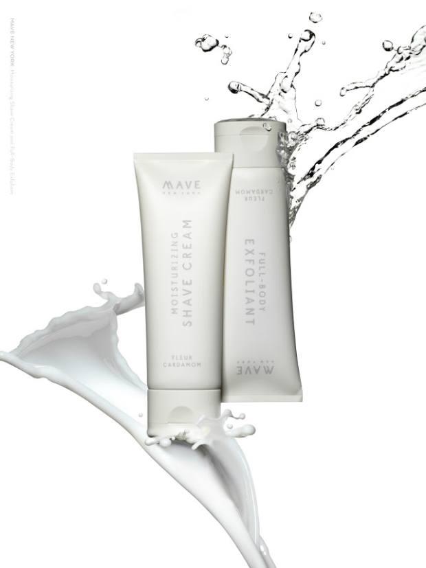 Mave Moisturizing Shave Cream, $25 for 75ml, and Full-Body Exfoliant, $25 for 80ml