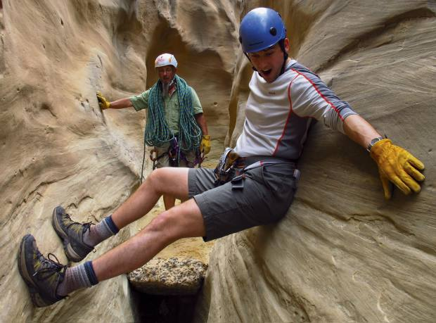 In a canyon, Darrell Hartman, in the foreground, with local guide Yermo Welsh
