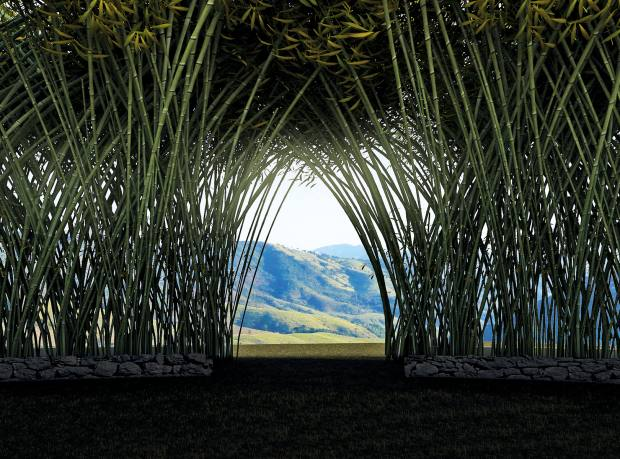 An artist's impression of the Campana Brothers' Bamboo Cathedral on the Fazenda Catuçaba estate