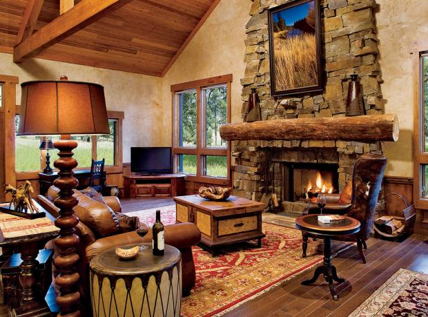 The sitting room at one of the resort's lodges, each of which has a hot tub