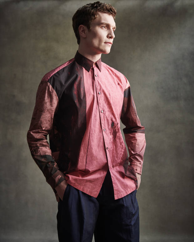 Paul Smith silk shirt, £415, and linen/silk trousers, £610