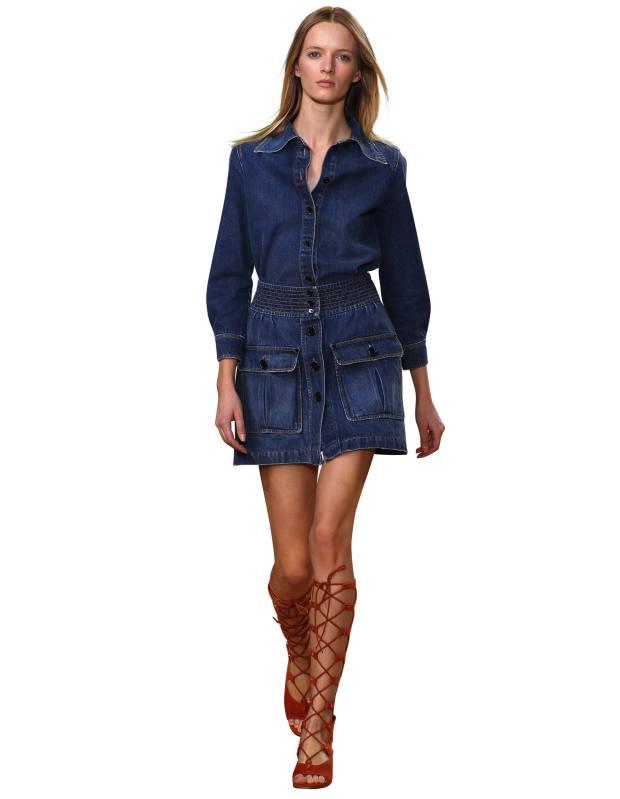 Chloé denim shirt, £345, and skirt, £370