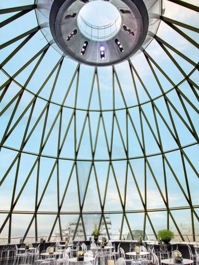 The glass dome at the Gherkin affords panoramic views of the City