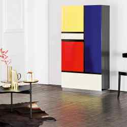 Röthlisberger wood, steel, glass and lacquer Mondrian cabinet by Koni Ochsner, £12,490