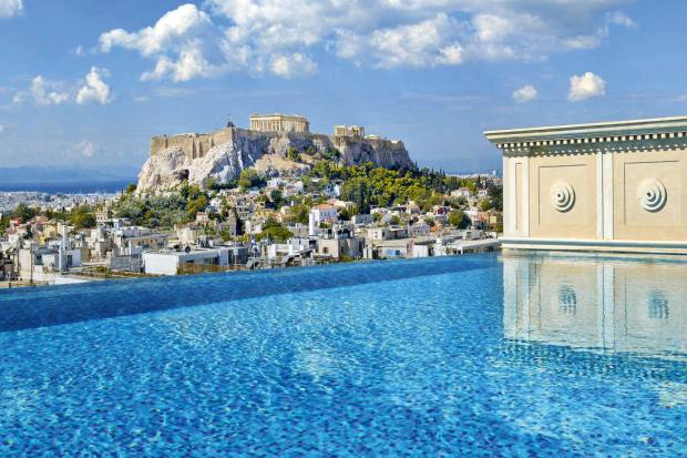 The private pool of the King George hotel's penthouse suite, which has views of the Acropolis