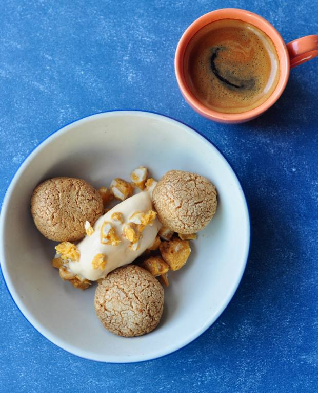 Coffee rasgullas (syrupy dumplings) with salted caramel ice cream and crushed peanut chikki