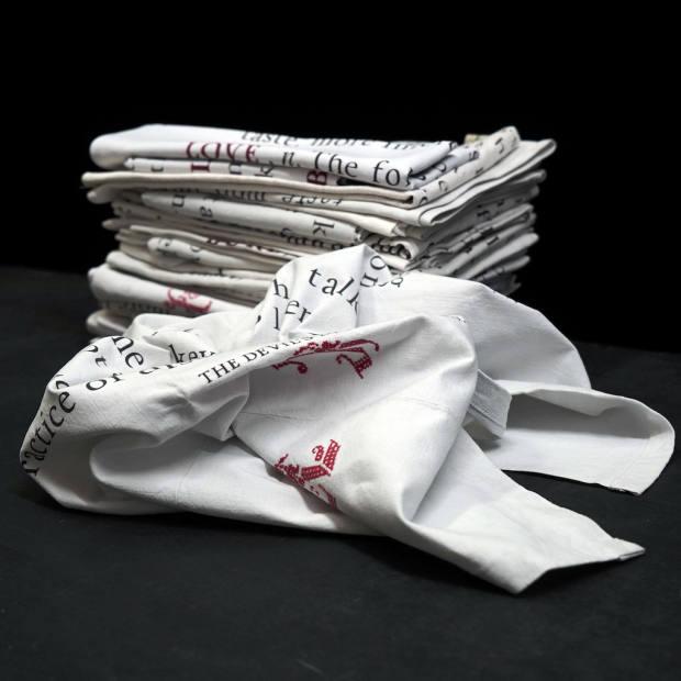 Badger's Velvet embroidered linen tea towels, £65 each