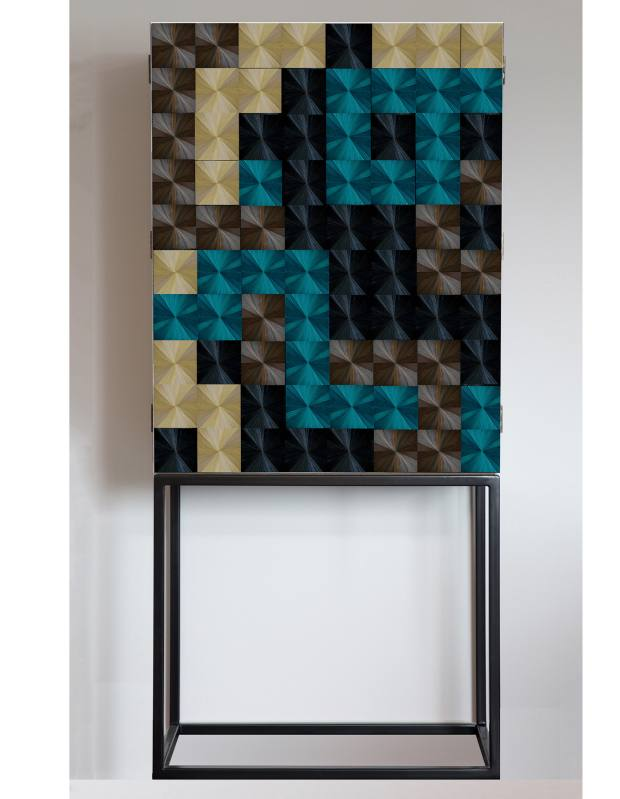 Violeta Galan walnut, steel and straw Sybarite cabinet, price on request