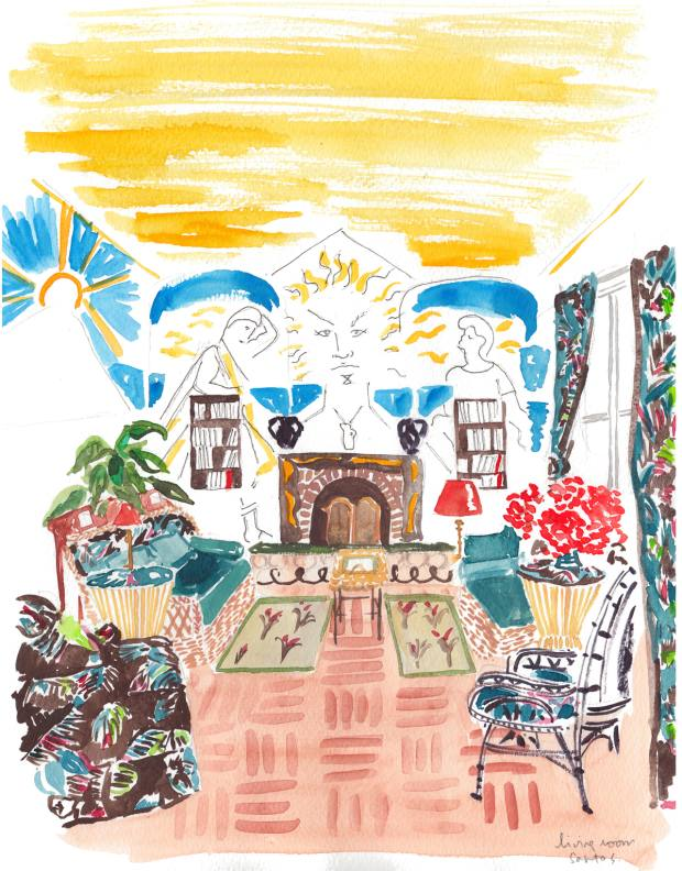 Johnson's portrait of the sitting room of Villa Santo Sospir in the South of France, with its murals by Jean Cocteau