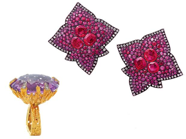 From left: Grima gold, amethyst and diamond ring, sold for £25,000 at Bonhams. JARgold, silver, ruby and diamond earrings, sold forabout £245,000 at Christie's Geneva