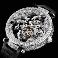 Cartier rhodiumised white gold and diamond Microsculpture Scène Panthères with alligator strap, price on request