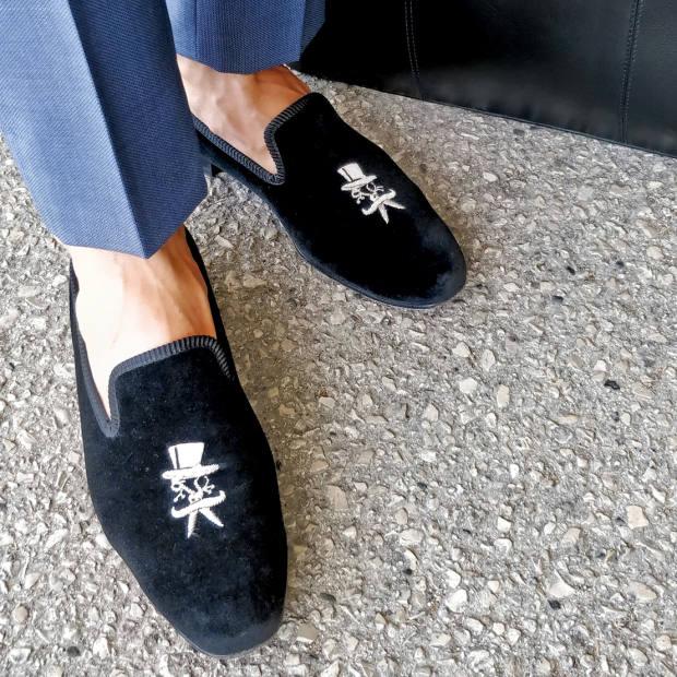 12b4522cfdce Donhall & Bell velvet Portuguese Dandy slippers, from £750