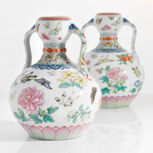 These rare Chinese Qianlong famille rose vases, dating from 1736-1795, are expected to fetch in excess of £2m at the Christie's auction