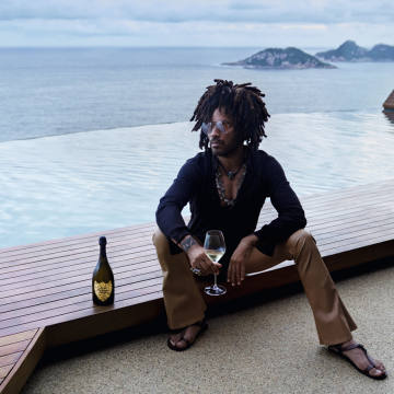 Lenny Kravitz enjoys a glass of Dom Pérignon Vintage 2008