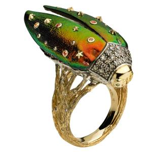 Bibi van der Velden Flying Scarab ring in 18ct gold and sterling silver with brown diamonds and scarab wings, £5,365
