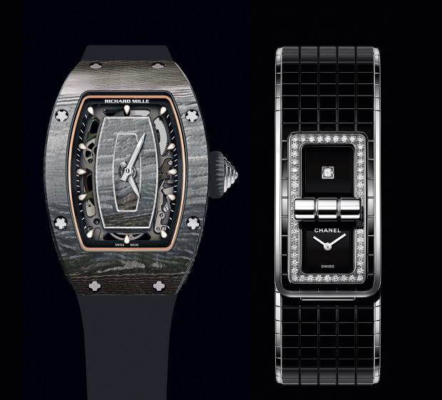 From left: Richard Mille carbon TPT and titanium RM07-01, £58,500. Chanel steel, ceramic and diamond Code Coco, £8,800