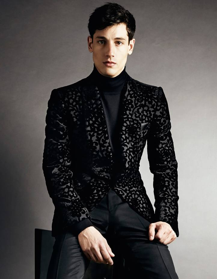 Tom Ford cashmere/silk poloneck, £860, and cotton/silk/viscose/velvet jacket, £4,740