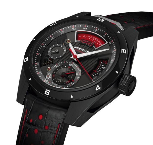Montblanc titanium TimeWalker Chronograph 1000 onalligator strap, about £150,000