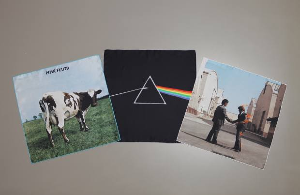 A silk pocket square set based on Atom Heart Mother, Dark Side of the Moon and Wish You Were Here