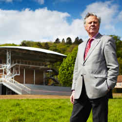 Anthony Whitworth-Jones, general director of Garsington Opera Company, in front of the new pavilion at Wormsley.