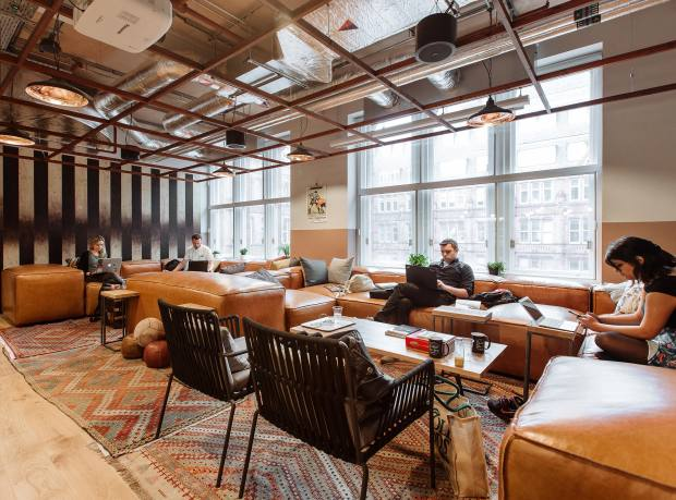 The relaxed working conditions at Waterhouse Square, one of WeWork's London spaces