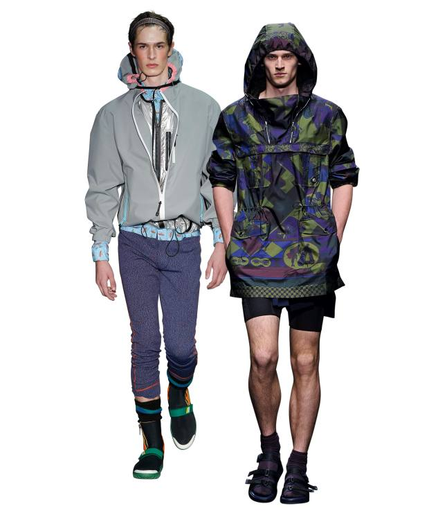 From left: Prada technical-fabric cagoule, £865. Versace technical-fabric Baroque cagoule, £1,720