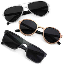 Pascal Mathieu handmade sunglasses: from top, Aviateur, Ronde and Carrée, £467 each