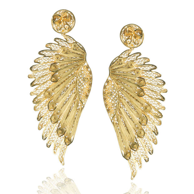 Tres Almas 24ct-gold-plated Anjo Wings earrings, $286