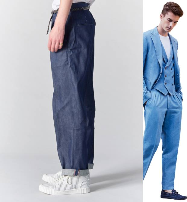 From left: Other selvedge denim drill jeans, £155. Tod's washed denim trousers, £310