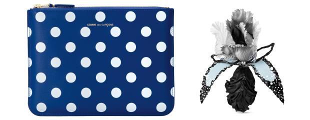From left: Comme des Garçons wallet, £130, doverstreet market.com. Louis Vuitton brooch, £750