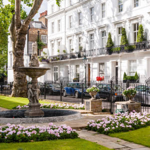 The communal garden at Wellington Square, Chelsea, where a five-bedroom houseis on offer for £4.25m through Russell Simpson