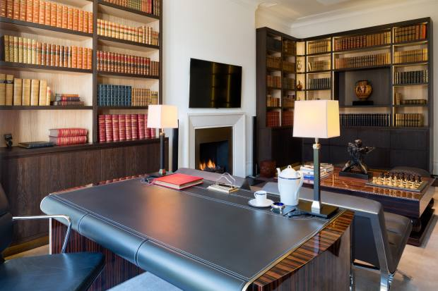 Bespoke desk in Macassar ebony veneer and handstitched leather, £20,000