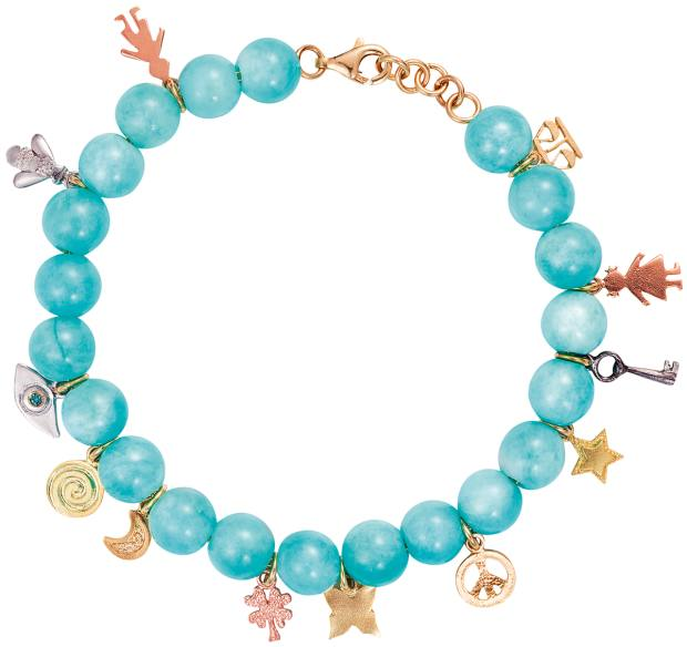 Carolina Bucci amazonite bead Lucky Charms bracelet with vintage gold and silver charms from the Recharmed collection, £2,560