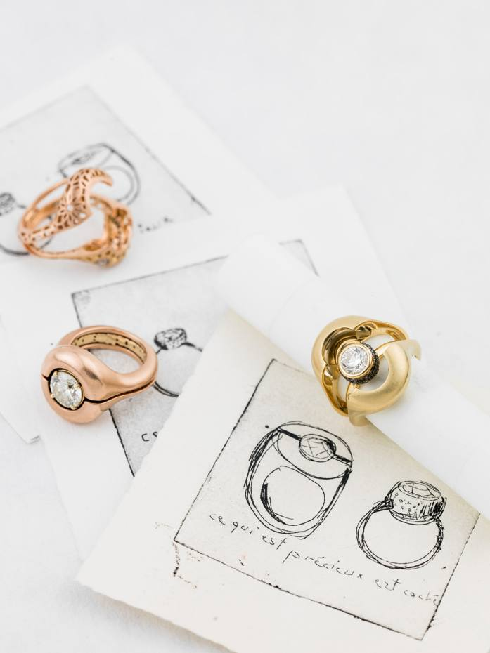 The bespoke Caché ring, from £4,000, with preliminary sketches