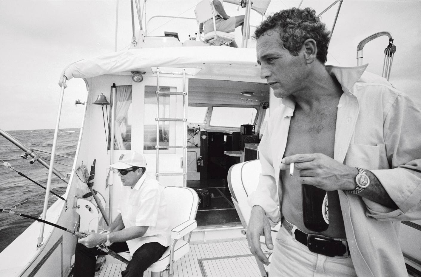 Paul Newman on a fishing boat in Florida, 1967
