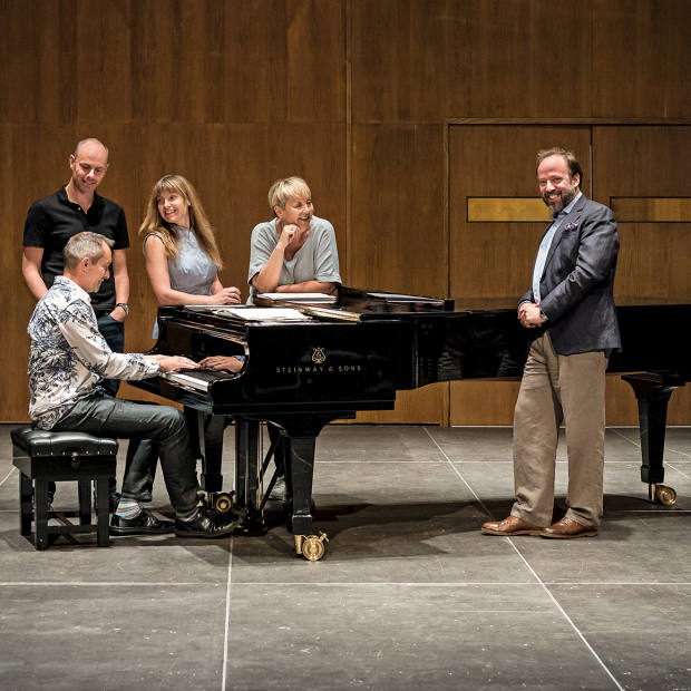 From far left: composer Jonathan Dove (seated), pianist Andrew Matthews-Owen, soprano Claire Booth, mezzo-soprano Susan Bickley and classical music philanthropist Richard Thomas prepare for a world premiere of a composition by Dove for the recital Remembering Debussy in the Southbank Centre's Purcell Room