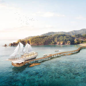 Ayana Resort's 54m Lako di'a phinisi at its new Komodo Waecicu Beach property on Flores Island in Indonesia