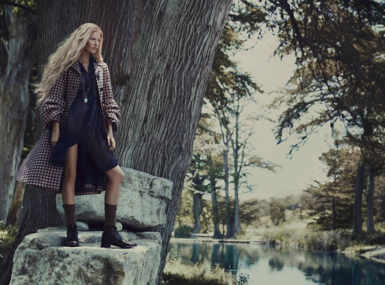 Wool coat, £1,705, by Prada. Silk dress, £390, by Dosa from Egg. Lace bra, £205, and briefs, £145, by Eres. Handmade leather boots, £790, by Le Yucca's from Egg. Wool socks, £26, by Ports 1961. Platinum-plated pear necklace with turquoise and diamonds, £4,610, and platinum-plated stacking rings, from £1,000, all by Armenta